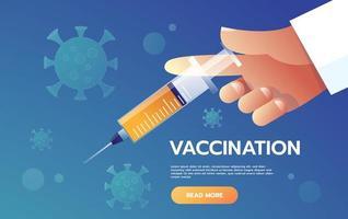 fatti vaccinare contro l'influenza. mano del medico con la siringa. medicina e vaccinazione, iniezione in bottiglia, illustrazione vettoriale. vettore