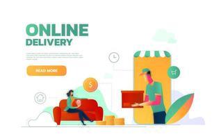 modello di pagina di destinazione di vettore piatto isometrico di servizio di consegna espresso, servizio di corriere, spedizione di merci, ordinazione online di cibo. illustrazione vettoriale.