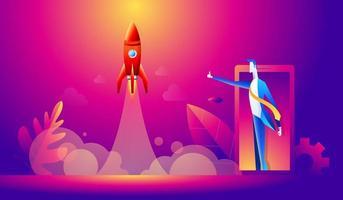 concetto di avvio. cartone animato uomo d'affari felice con il pollice in su per il lancio di un razzo. design piatto, illustrazione vettoriale
