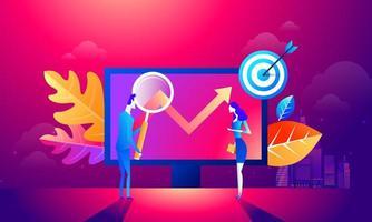 il team di persone lavora insieme su seo. può utilizzare per banner web, infografiche, immagini di eroi. illustrazione vettoriale isometrico piatto isolato su sfondo viola e rosso