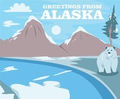 Vettore della cartolina dell'orso dell'Alaska