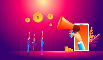 team di marketing online con il cliente. illustrazione, graphic design. concetto di affari. vettore