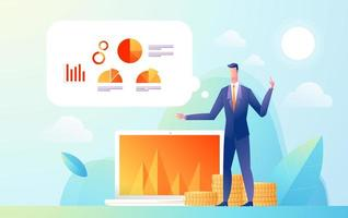 uomo d & # 39; affari che mostra la presentazione al pubblico con dati e statistiche del grafico. illustrazione di design isometrico piatto. vettore