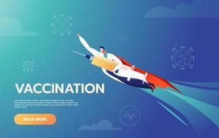 il dottore è un eroe e tiene il vaccino e vola per proteggere le persone combattendo contro il coronavirus covid-19 vettore