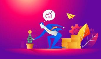 investimento e finanza concetto di business crescita. uomo d'affari mettendo una moneta in vaso di fiori e piantando albero verde dei soldi. illustrazione vettoriale piatta