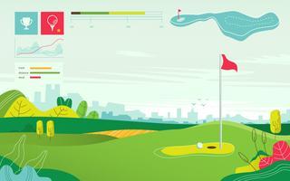 Illustrazione piana di vettore della mappa di torneo di campo da golf di vista del paesaggio