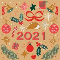 illustrazione moderna di vettore di stile di art deco della carta del nuovo anno