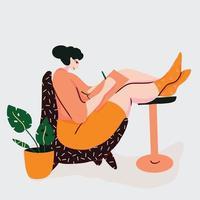 illustrazione della giovane donna che scrive vettore