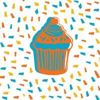 illustrazione di vettore di stile kawaii dolce cupcake