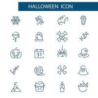 set di icone di linea sottile di Halloween. pacchetto di simboli lineari vettoriali.