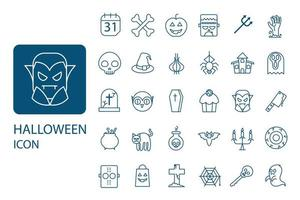 set di icone di linea sottile di Halloween. raccolta di simboli di partito, vettore