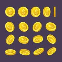 monete d'oro che cadono denaro in diverse posizioni illustrazione vettoriale