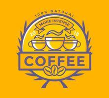 Vettore piano dell'illustrazione del distintivo del caffè