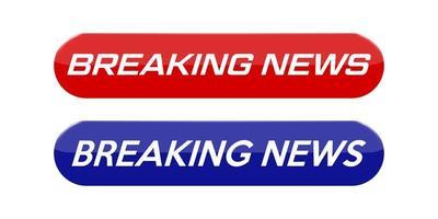 pulsanti di notizie vuote con testo delle ultime notizie vettore