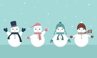 raccolta di cartoni animati di pupazzi di neve vettore