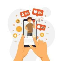concetto di influencer sui social media che mostra le persone che portano simpatie e reazioni per ottenere coinvolgimento vettore
