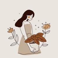 ragazza con disegno a tratteggio di piante vettore