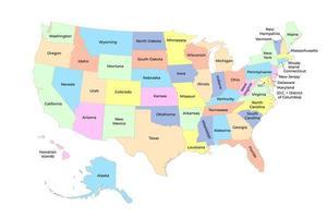 dettagliata mappa a colori degli stati uniti d'america con gli stati. vettore