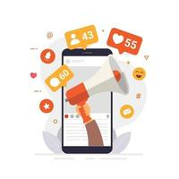 concetto di design di social media marketing per ottenere coinvolgimento e chiusura del prodotto vettore