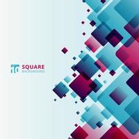 tecnologia moderna astratta quadrati futuristici geometrici blu e rosa modello sovrapposizione su sfondo bianco