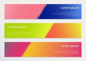 set di banner orizzontale astratto modello di progettazione linee diagonali contrasto sfondo colorato. vettore