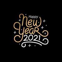 felice anno nuovo 2021 con stile tipografico lettering per biglietto di auguri vettore