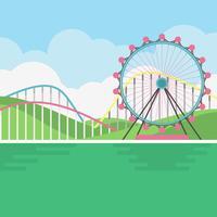 Illustrazione del paesaggio del parco di divertimenti vettore