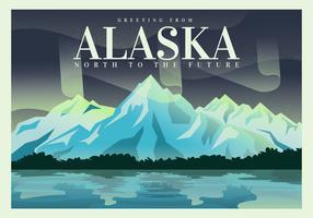 Cartolina dal disegno dell'illustrazione di vettore dell'Alaska