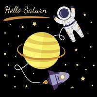 Astronauta Esplorando Saturno Vector