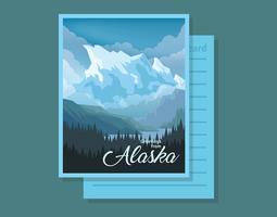 Cartolina dall'illustrazione dell'Alaska vettore
