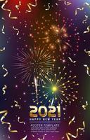 felice anno nuovo 2021 modello di poster di fuochi d'artificio vettore