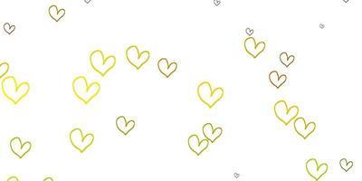 sfondo vettoriale verde chiaro, giallo con cuori dolci.