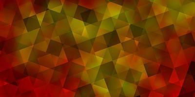 sfondo vettoriale arancione chiaro con triangoli, cubi.