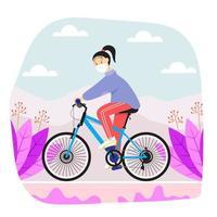 una ragazza in sella alla sua bicicletta con protocollo sanitario vettore