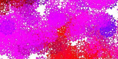 sfondo vettoriale rosa chiaro, rosso con fiocchi di neve di Natale.