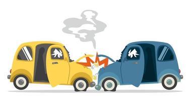 incidente d'auto isolato su sfondo bianco vettore