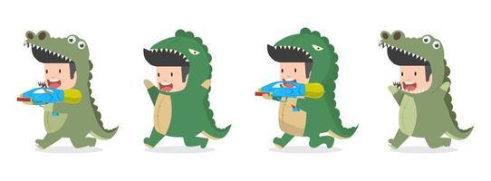cartone animato ragazzino in costume da coccodrillo e dinosauro vettore