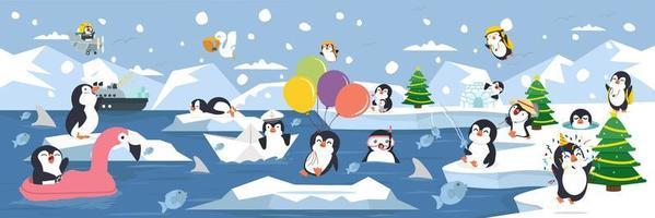 famiglia di pinguini divertendosi sullo sfondo del paesaggio artico vettore