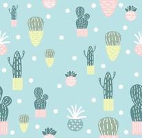 carino piatto cactus seamless pattern di sfondo vettore