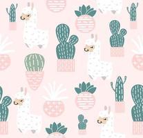 lama carino con sfondo seamless pattern di cactus vettore