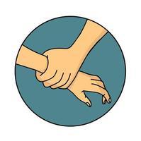 mano che spinge un'altra icona della mano vettore