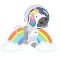 simpatico unicorno astronauta con arcobaleno vettore