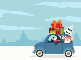 pinguino alla guida di un'auto con scatole regalo e Babbo Natale