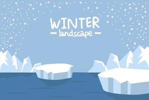 paesaggio artico nella stagione invernale vettore