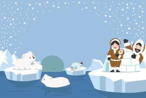 paesaggio artico nella stagione invernale con animali e famiglia eschimese vettore