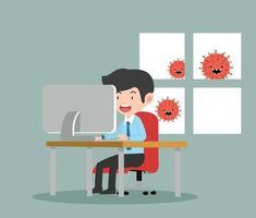 uomo d'affari che lavora a casa con il coronavirus dei cartoni animati all'esterno