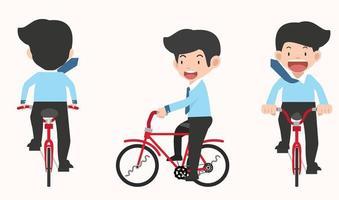 uomo d & # 39; affari in sella a un set vettoriale di bicicletta