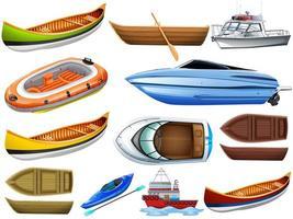 set di diversi tipi di barche e navi isolati su sfondo bianco vettore