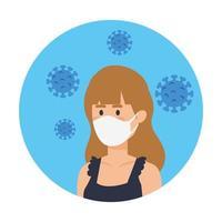 donna che utilizza maschera facciale con particelle covid 19 in cornice circolare