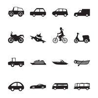 set di icone semplici di trasporto